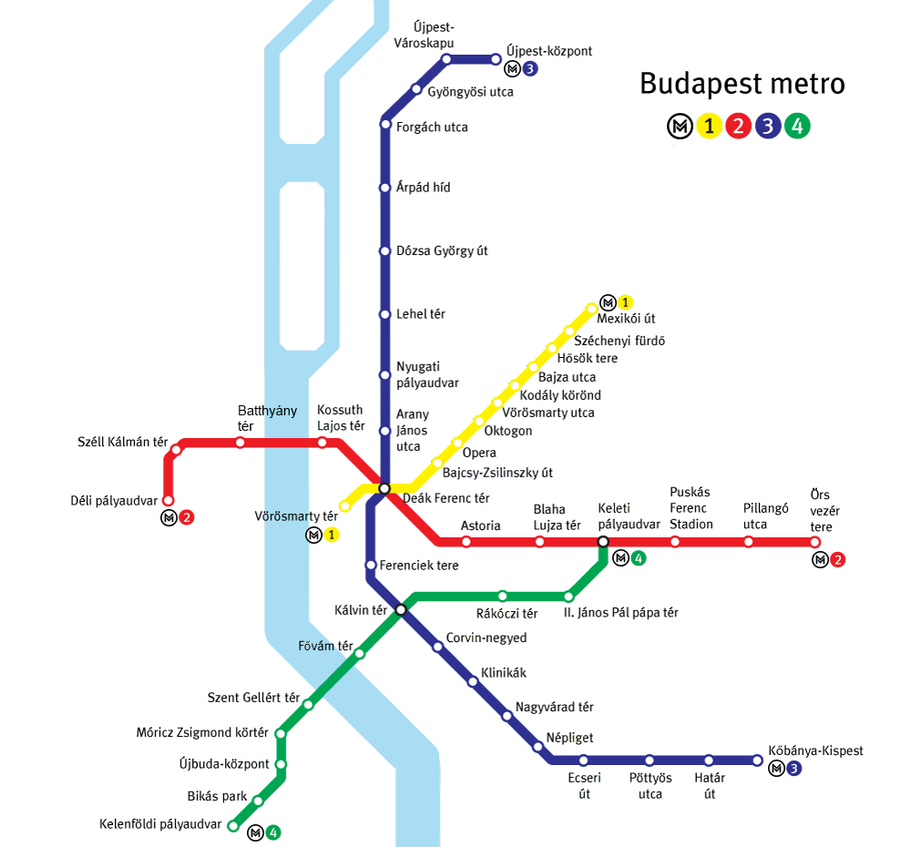 mappa metropolitana budapest